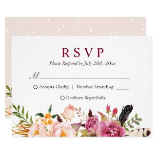Cartão Pena boémia Boho floral rústico RSVP
