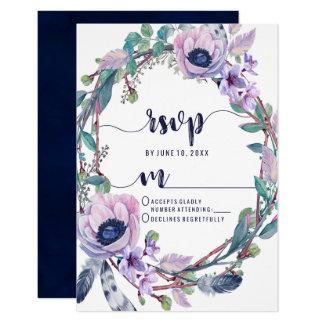Cartão Pena de Boho & grinalda floral que Wedding a