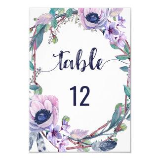 Cartão Pena de Boho & números florais da mesa do