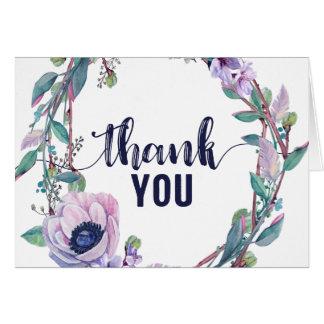 Cartão Pena de Boho & obrigado floral do casamento da