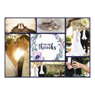 Cartão Pena de Boho & obrigado floral do casamento você