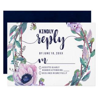 Cartão Pena de Boho & resposta floral RSVP do casamento