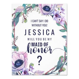 Cartão Pena de Boho & vontade floral você seja minha
