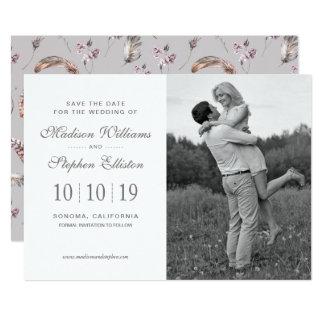 Cartão Pena do vintage e teste padrão floral - salvar a