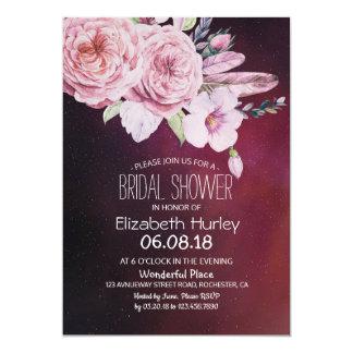 Cartão Pena floral Borgonha de Boho do chá de panela