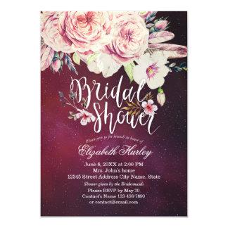 Cartão Pena floral de Boho da aguarela chique do chá de