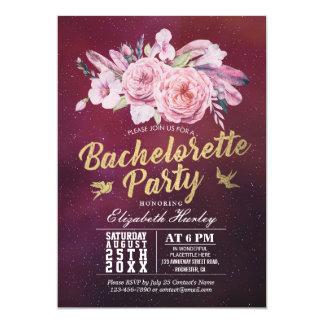 Cartão Pena floral de Boho da aguarela da festa de
