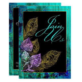 Cartão Pena rústica da madeira e do pavão de turquesa