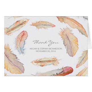 Cartão Penas da aguarela de Boho que Wedding o obrigado