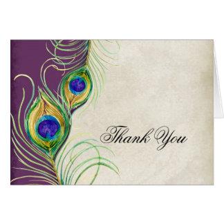 Cartão Penas do pavão que Wedding o obrigado você notas