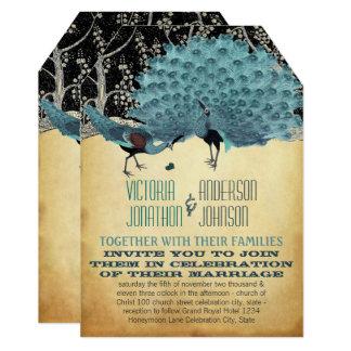 Cartão Penas do vintage do pavão com pavões