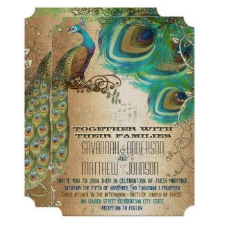 Cartão Penas douradas musicais do pavão de PlayBill do