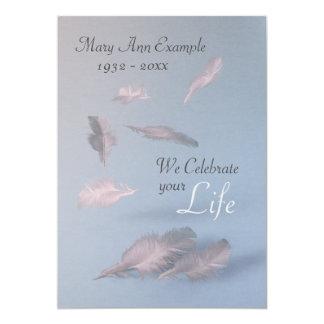 Cartão Penas - funeral/celebração personalizados da vida