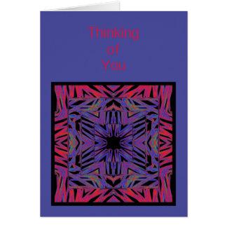 Cartão Pensamento abstrato do azul vermelho de você