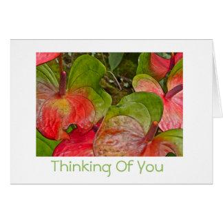 Cartão Pensamento de antúrios vermelhos e verdes