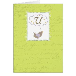 """Cartão Pensamento de """"U"""" com amor"""