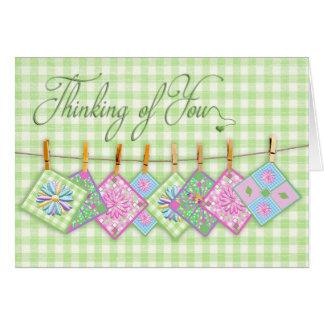 Cartão Pensamento de você - a edredão esquadra -