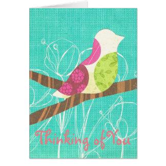Cartão Pensamento de você colagem das aves canoras do