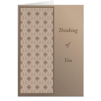 Cartão Pensamento de você com o terraço geométrico