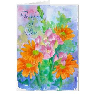 Cartão Pensamento de você flores da aguarela da margarida