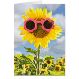 Cartão Pensamento dos você-Óculos de sol no girassol