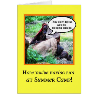 Cartão Pensamento engraçado de você, acampamento de