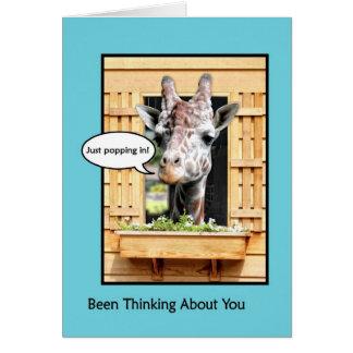 Cartão Pensamento engraçado de você, girafa bonito