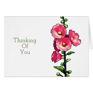 Cartão Pensando de você, flores cor-de-rosa do Hollyhock,