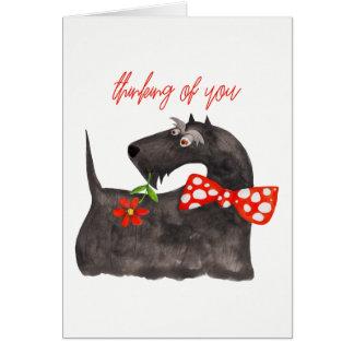 """Cartão """"Pensando de você"""" vazio bonito da aguarela do cão"""