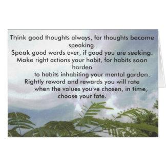 Cartão Pense bons pensamentos sempre…
