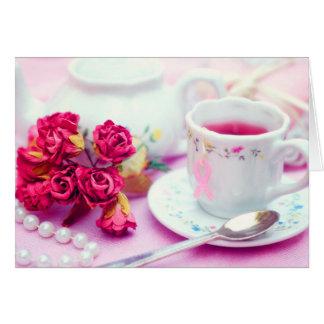 Cartão Pense o chá cor-de-rosa