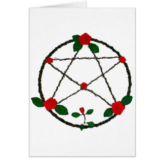 Cartão Pentacle das videiras e das rosas vermelhas