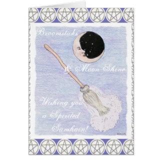 Cartão Pentacle espirituoso de Samhain da lua & da