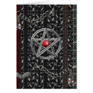 Cartão Pentacles e bruxas o Dia das Bruxas
