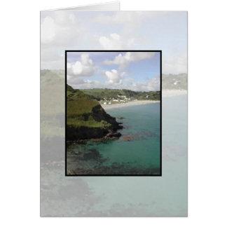 Cartão Pentewan. Cornualha. Vista litoral cénico