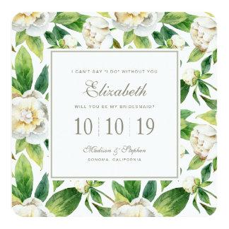 Cartão Peônias & aguarela brancas da folha - dama de