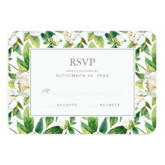 Cartão Peônias & aguarela brancas da folha - RSVP