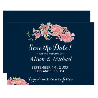 Cartão Peônias cor-de-rosa azuis escuro elegantes que