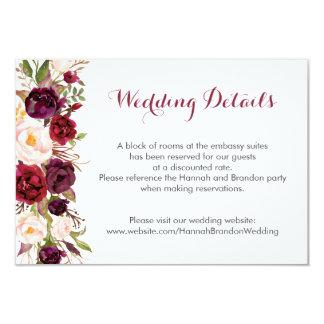 Cartão Peônias florais de Boho Marsala que Wedding o