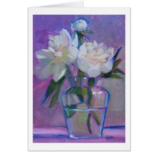 Cartão Peônias três - flores brancas em um vaso de vidro