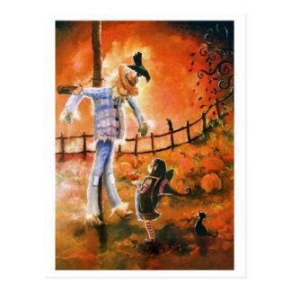 Cartão pequeno da bruxa e do espantalho cartão postal