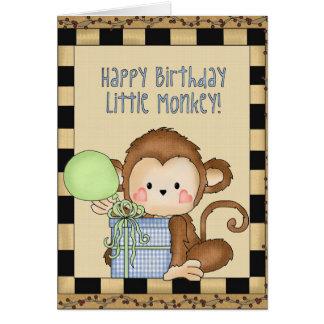Cartão pequeno do macaco do feliz aniversario