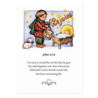 Cartão pequeno do menino do baterista do Natal