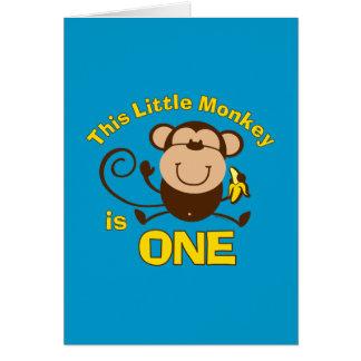 Cartão pequeno do menino do primeiro aniversario