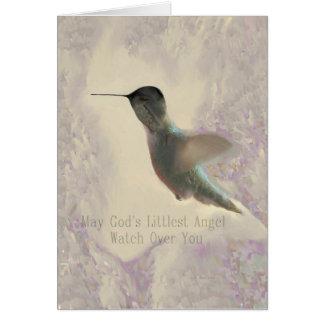 Cartão pequeno do vazio do anjo do colibri