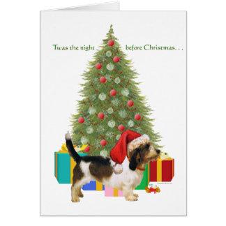 Cartão Pequeno Natal de Griffon Vendeen do Basset