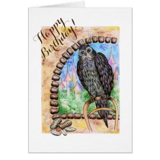 Cartão pequeno personalizado com uma coruja sábia