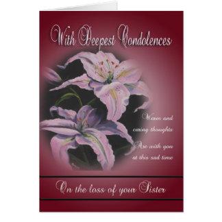 Cartão Perda de irmã - com pêsames os mais profundos