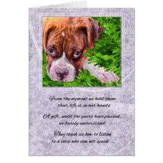 Cartão Perda de um cão - pugilista da simpatia do animal