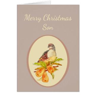 Cartão Perdiz do Feliz Natal do filho na árvore de pera
